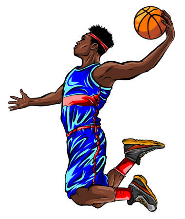 Black male basketball player jumping to shoot the ball Illustration