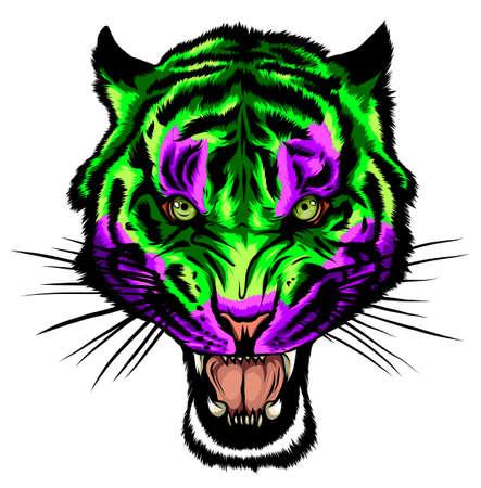 Color Tiger tattoo. Vector illustration of a tiger head. Tiger anger.