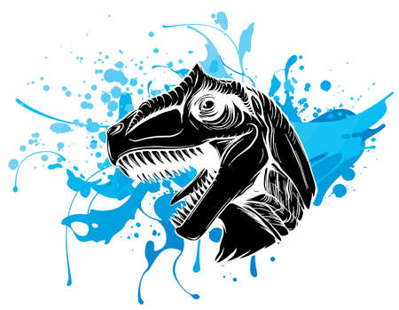 vector illustration of a T Rex, Tyrannosaurus Rex dinosaur ripping through a wall