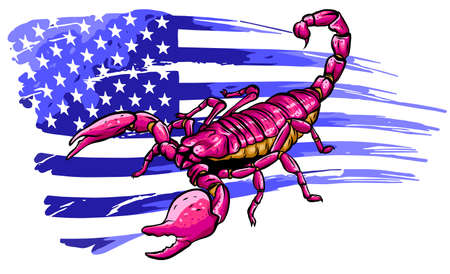 scorpion with american flag. Vector cartoon close-up illustration.