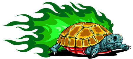 Illustration of Vector Tortoises with green flames