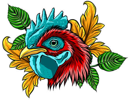 Chicken rooster head mascot vector illustration design