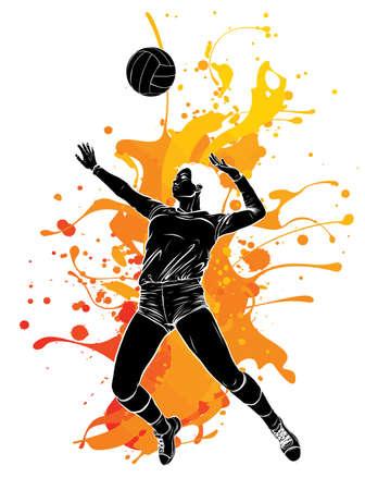 Volleyball Sport Girl and Ball Cartoon Vector Illustration