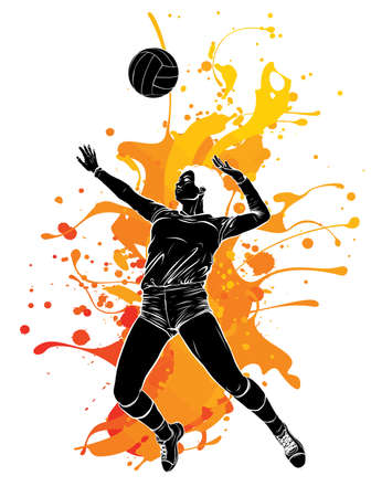 Volleyball Sport Girl and Ball Cartoon Vector Illustration