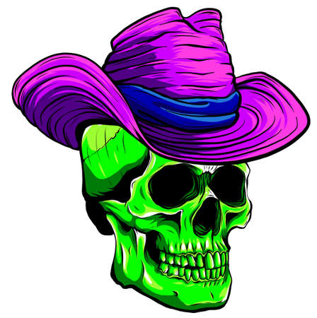 Vector skull pimp with hat illustration on white background