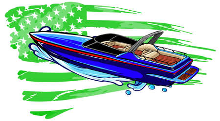 cartoon illustration of speedboat with american flag
