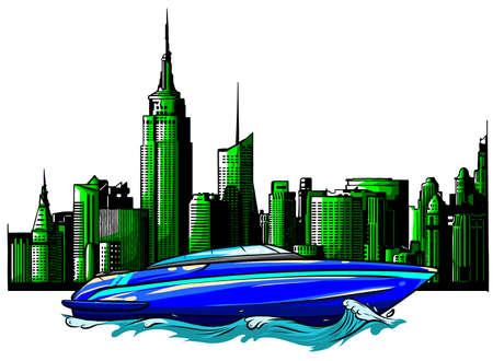 vector Illustration of a luxury private boat on skyscrapers background