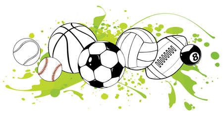 Sport balls on color background. Vector illustration 向量圖像