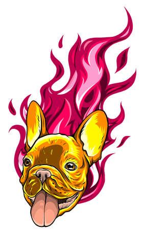 carlino head Dog Flame Tattoo vector illustration Vettoriali