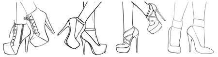 fashion high heels shoes. vector art illustration.