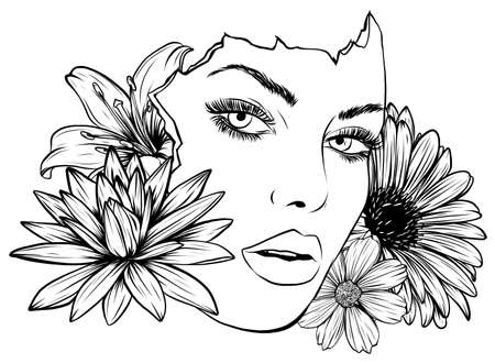portrait of young beautiful woman with flowers vector
