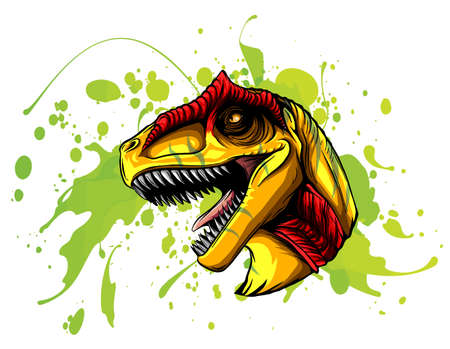 Drawing of a Allosaurus head. Vector animal illustration