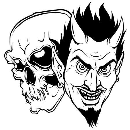 Devil and skull head vector illustration design