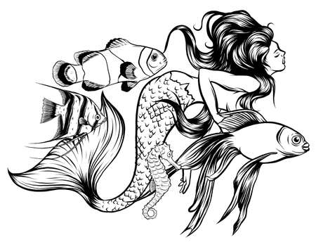 Vector illustration of a mermaid and her underwater world, full of life and color. vector