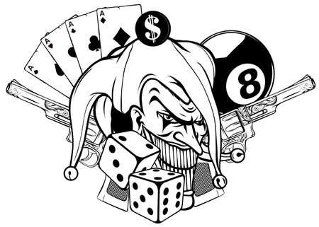 Vector illustration joker and revolvers in white background