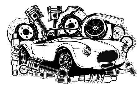 Vintage car and components collection in black and white Illusztráció