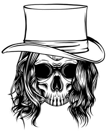 Cowboy skull wearing a stylish fedora hat