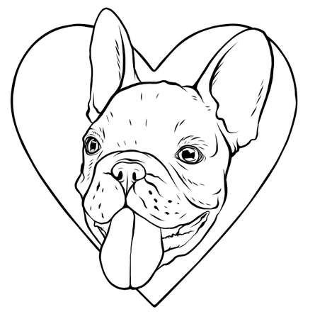 A Dog in love shape  and character illustration, for dog lovers   or mascot Illusztráció