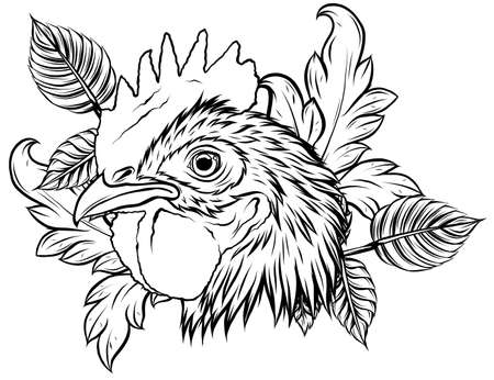 vector mascot of rooster head illustration design
