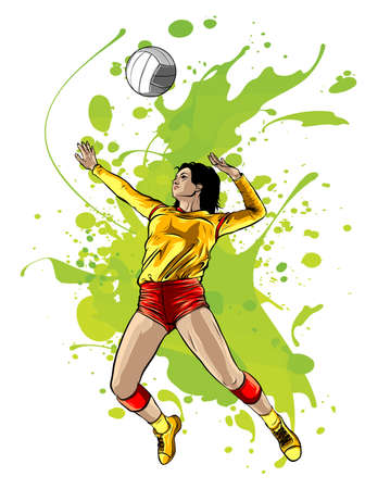 Abstract Female Volleyball Player Power vector illustration