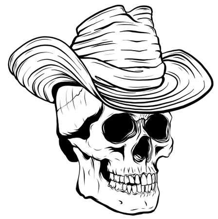 Vector illustration of Cowboy skull with hat Stock Illustratie
