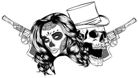 Gangster skull tattoo. Death head with cigar and hat vector Stock fotó