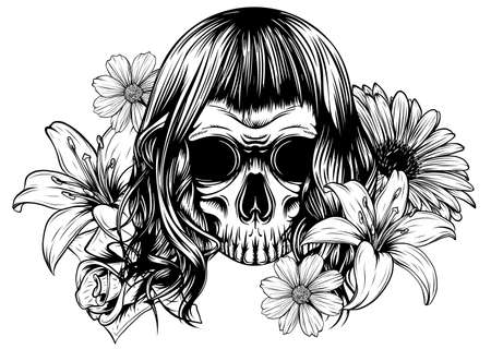 Girl with skeleton make up hand drawn vector sketch.