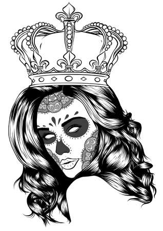 Female skull with a crown and long hair. Queen of death drawn in tattoo style. Vector illustration. Stock fotó