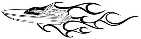 vector Illustration of a Fast Speedboat on the Water