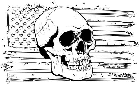 Skull and flag usa. Vector illustration graphics Stock Illustratie