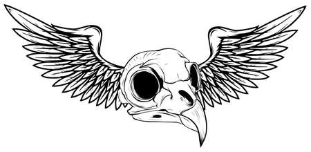 draw Skull with Wings Vector Illustration tattoo style