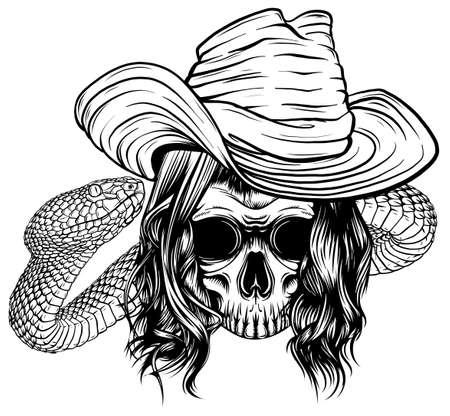 skull king with snake vector illustration design Stock Illustratie