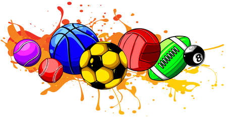 Composed set of different balls. Vector illustration. Stock Illustratie