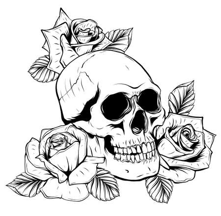 Illustration on white background. Skull and roses and peonies flowers. Black and white. Illusztráció