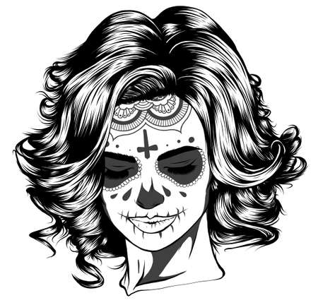 Illustration of black and white skull girl with rose in hairs on white background Illusztráció