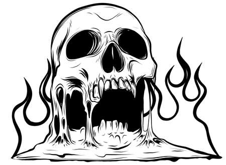 Vector burning skull with classic tribal flames isolated on white background.