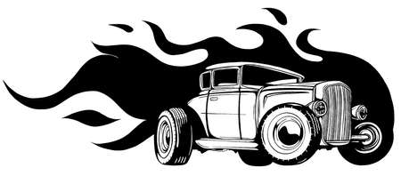 vector illustration muscle car with flames Crazy race