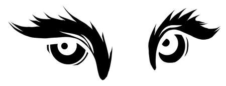 beast eyes black silhouette logo icon vector illustration design