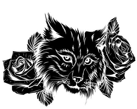 Vector illustration of angry bobcat face profile. Vecteurs