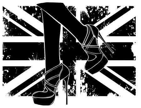 Legs with shoes. black silhouette High quality vector illustration