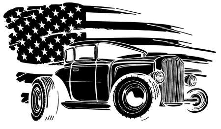 illustration with hot rod on grunge American flag black silhouette