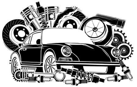 Vector illustration of Car Spares Frame and parts black silhouette