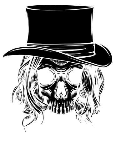 Vector black silhouette woman skull pimp illustration design