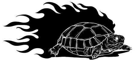 vector Illustration of black silhouette Sulcata land tortoise design