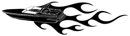 black silhouette Speedboat flames vector illustration. Luxury and expensive boat.