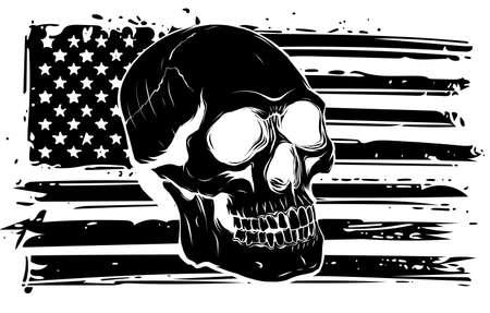 black silhouette vector illustration America Flag painted on a skull