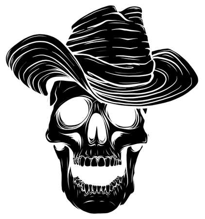 black silhouette Gangster skull tattoo. Death head with cigar and hat vector