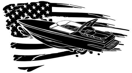 black silhouette cartoon illustration of speedboat with american flag