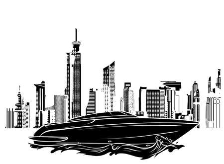 black silhouette speed luxury boat on city background vector illustration