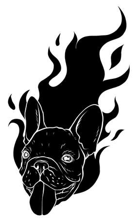 black silhouette carlino head Dog Flame Tattoo vector illustration
